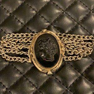 Antique Victorian Mourning Jet Cameo Bracelet
